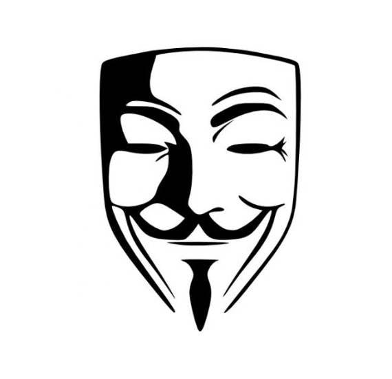 Anonymous guy fawkes mask v for vendetta decal choose size