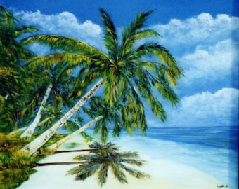 "Painting on canvas ""Tropical beach"""