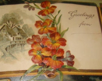 Nice Embossed Vintage Floral Postcard with a Book