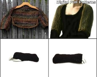 Claire's Shoulderette Shrug and Fingerless Gloves Set Digital PDF Crochet Pattern not a finished product