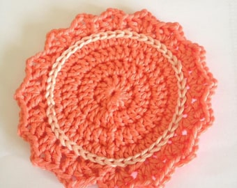 Handmade crochet round coasters