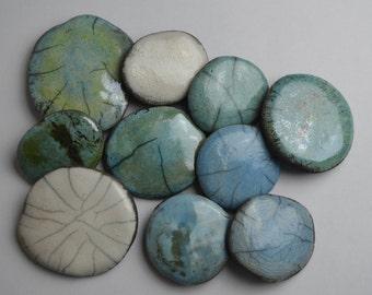 Raku Pebbles, set of 10, decorative stones