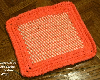 Orange and Cream Tweed Potholders Crocheted or Hot Pads Crochet  - Made To Order Set of 2 - Kitchen Decor - Earthy Rustic Home Decor - Eco