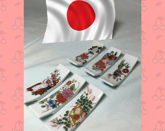 Vintage porcelain chopstick rests from Japan with colorful traditional designs