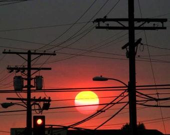 Sunset sun and the traffic light, Sunset photograph, sun down photograph, nature photo, gift