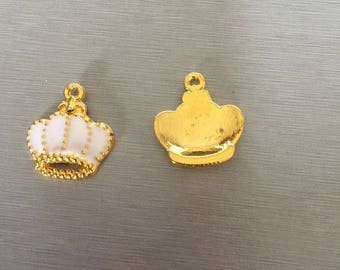 Gold Crown and white enamel