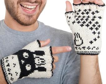 SALE Totoro Fingerless Gloves - handmade from merino wool. Totoro Gloves Arm Warmers Merino Fingerless Gloves Soft Arm warmers Fun Gloves