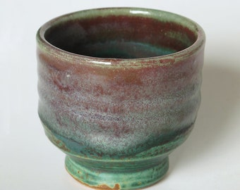 Sake cup, beautiful green with pink, purple, and red accents