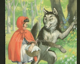 Antique print RED RIDING HOOD 4 rhyme 1950s illustration nursery decor baby shower gift baby red