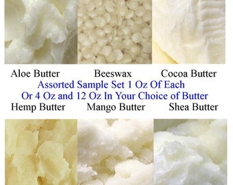 Butter Sample Set, Aloe Butter, Beeswax Pellets, Cocoa Butter, Hemp Butter, Mango Butter, Refined Shea Butter Raw, 4 Oz or .75 Lb