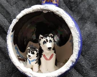 Northern Yukon Husky Dog Ceramic Ornament