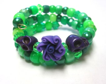 Sugar Skull Bracelet Day Of The Dead Jewelry Black Purple Lime Green Itty Bitty Pretties