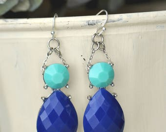 Silver and Blue Dangle Statement Earrings- Aqua Earrings- Royal Blue Earrings- Blue Statement Earrings- Boho Earrings- Gift for Her