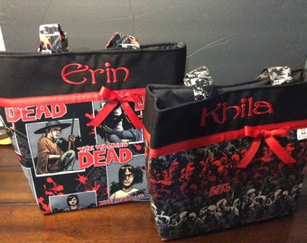 Personalized Zombie/Walking Dead diaper bag/ tote bag made with Walking dead, zombies fabric.