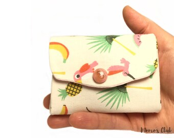 Coin purses-Smart Wallet-coin Purse-Cash System-Portaspicci with pineapple, watermelon, pink toucan