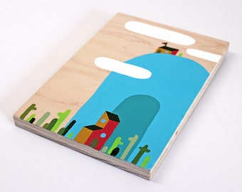 """Simple Landscape Five - 5 x 7"""" acrylic painting on maple plywood - ready to hang"""