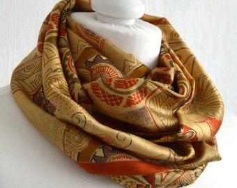 Terracotta Beige Silk Scarf, Sari Silk Scarf, Silk Infinity Scarf, Womens Scarves, Gifts for Her, Pure Silk Scarf, Loop Scarf, Boho Scarf