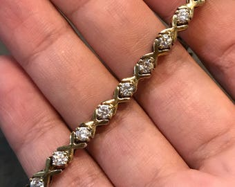 """6.75"""", Vintage gold over sterling silver bracelet, Solid 925 silver tennis bracelet with crystal, stamped 925"""