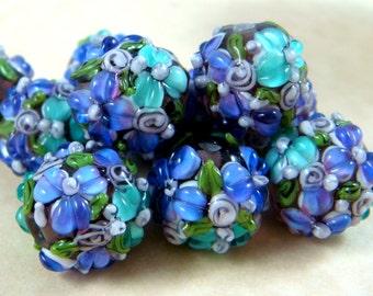 Lampwork Beads - Purple & Aqua Bumpy Floral Lamp work Beads - approx. 14mm - Qty. 2