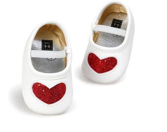Red Heart Glitter Shoes, Baby Shoes, Baby Girls Shoes,  Baby Shoes, Baby Shoes, Mocassins, Baby Shoes