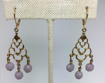 lavender milk glass chandelier earrings