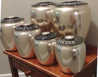Vintage 1950's Kromex Pink Copper Canister Set/ Retro Vintage 6 Piece Spun Aluminum Fifties MCM Kitchen Canister Set