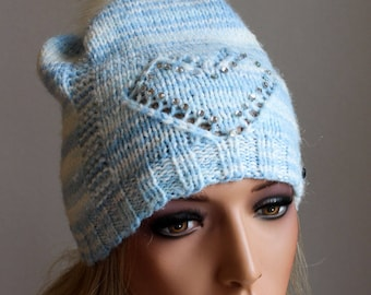 Knitted Winter Hat with Rhinestones