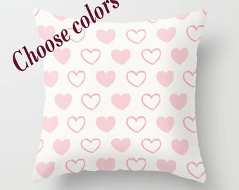 Custom Colors Hearts Throw Pillow with insert, Indoor, Outdoor, Gift, Love, Valentines day, Basic, Modern, Style, Elegant, Girlfriend, Mom