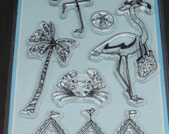 "Inkadinkado- Clear Stamp Set- 4"" x 8""- 8 piece set ""Flamingo Fun"""
