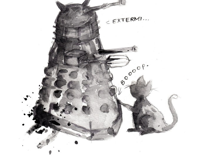 Dalek and Cat, 8.5x11 inch inkjet print / Doctor Who art