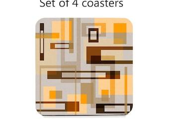 Mid century modern coaster set, drink coasters, set of 4, tan, orange, brown coasters, cork back coasters, housewarming gift, table decor