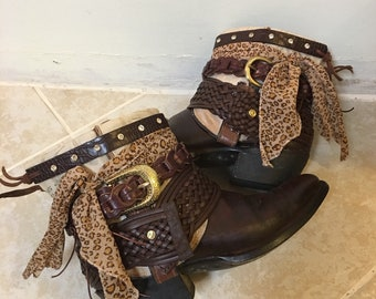 UPCycled Cowgirl Boots Size 9 - Ladies Boho Bootie Boots