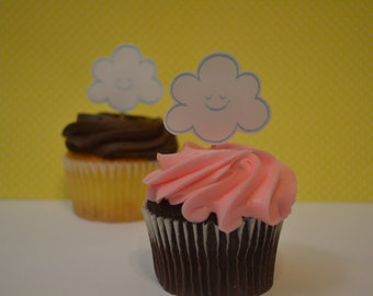 Cloud cupcake toppers, baby shower, Up and away, party, 12 cupcake toppers