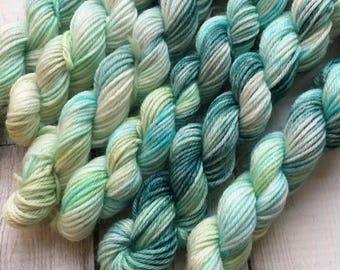 Steeped Greens, Sock Yarn Minis, Hand Dyed Sock Yarn Minis, 10g Sock Yarn Minis, Green Sock Yarn, Hand Painted Sock Yarn Mini Skeins