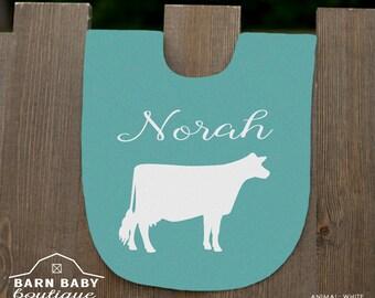 Personalized Dairy Cow Baby Bib - farm nursery, fleece name bib, farm animal baby shower gift