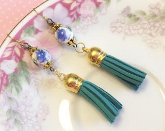 Leather Tassel Earrings, Teal Flower Earrings, Hippie Bohemian Earrings, Ceramic Bead Jewelry, Trendy Tassel Earrings, KreatedByKelly