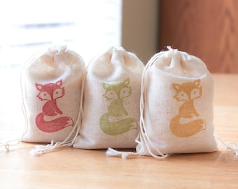 Fox favor bags set 15 with stamp gift sack boy birthday party baby shower goodies treat bag woodland