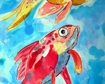 Alcohol Ink Painting, Original Alcohol Ink Painting, Painting, Ink Painting, Fish Painting, Goldfish Painting