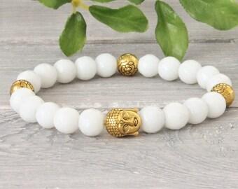 Half Gemstone Bracelet Gold Buddha, pile bracelet, stretch bracelet