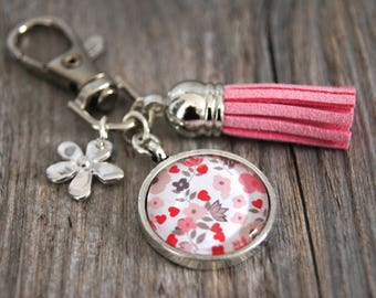KEYCHAIN JEWELRY BAG LIBERTY PINK AND GRAY - PC001