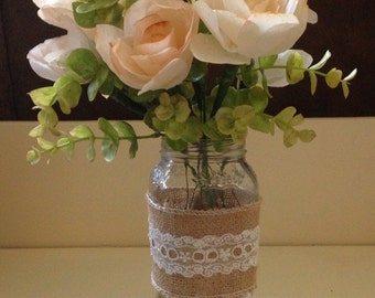 Rustic Burlap and Lace Paper Floral Arrangement /  Coffee Filter Floral Arrangement
