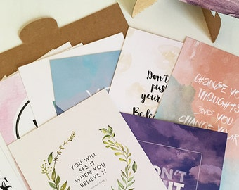 Inspirational Quotes - Postcards + Display Stand - Set of 12 - Motivational Quotes