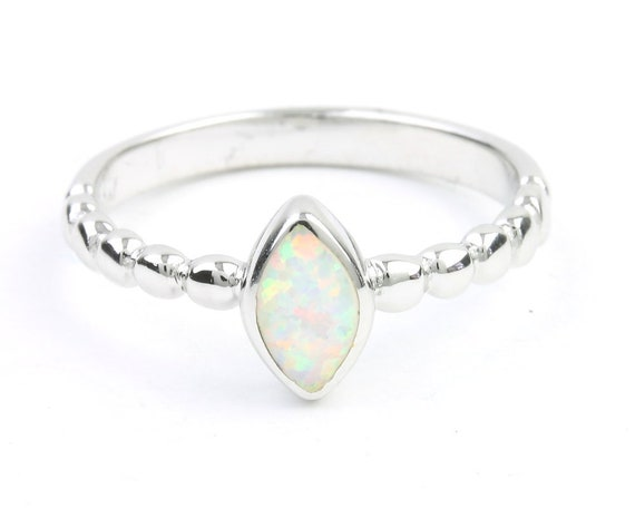 Snow Opal Ring, Sterling Silver White Opal Ring, Stone Jewelry, Cosmic, Boho, Gypsy, Minimal, Festival Jewelry, Spiritual, Modern