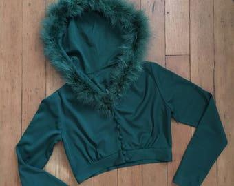 RARE vintage 1970s jacket // 70s cropped green jacket with feathered hood