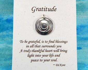 Gratitude Pendant, Inspirational Jewelry, Personalize, Gratitude Symbol, Thankful Jewelry, Large Fine Silver Pendant