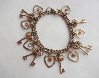 Skeleton Key Heart Charm Bracelet