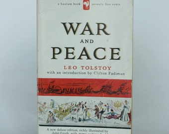 vintage War and Peace by Leo Tolstoy paperback edition 10th printing published 1956 illistrated by John Groth
