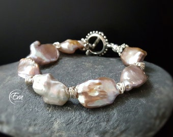 Baroque pearls bracelet, Fresh water baroque pearls, Lavender, Handmade, silver, handmade, for her, natural pearls, Gift 40033