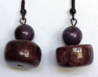 Wood Bead And Round Glass Bead Earrings, Free Gift with Purchase