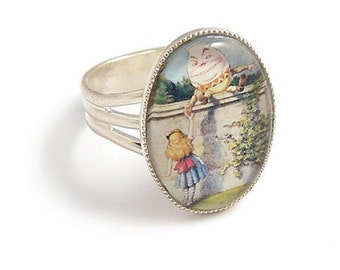 Alice in Wonderland ring Alice meets Humpty Dumpty ring ..adjustable